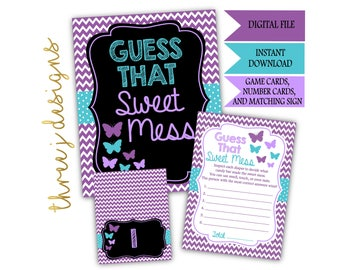 Butterfly Baby Shower Guess That Sweet Mess Game Cards and Sign - INSTANT DOWNLOAD - Purple and Teal - Digital File - J001