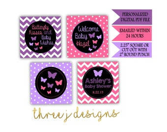 Butterfly Baby Shower Personalized Cupcake Toppers - Purple and Pink - Digital File - J002