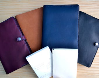 Midori MD Notebook leather cover | Snap closure, 4 Horween leather colours, all sizes | Journal refillable sleeve