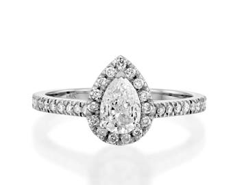 1 1/2 CT Real Diamond Engagement Ring Pear Shape Cut H/SI2 14K White Gold