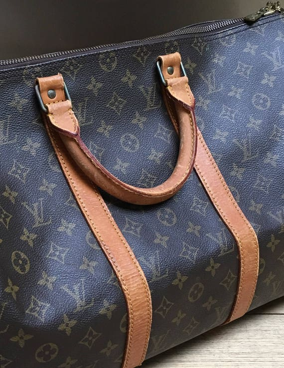 Vintage original Louis Vuitton Keepall 50 leather and canvas luggage bag