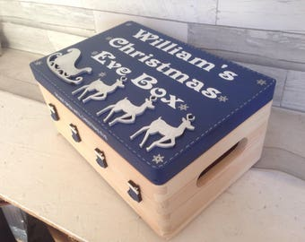 Christmas eve box, personalised box, decorated Christmas box, personalised wooden crate, Family fun xmas, CIJ 2017. Traditional christmas,