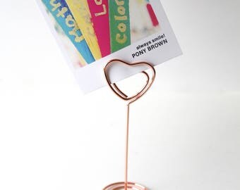 Rose Gold tone Card Holder/ Heart wire name card holder/ Table number/ Dinner party