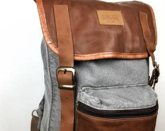 retro grey backpack,  organic cotton, faux leather