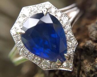 2ct Blue Sapphire Diamond Halo Intrepide Ring 14kt White Gold