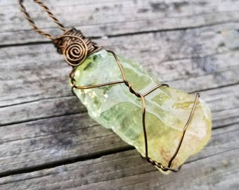 Green Calcite Necklace for Personal Growth and Transformation