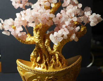 Money Tree | Feng Shui Tree | Lucky Tree | Fortune Tree | Crystal Tree | Large Rose Quartz Money Tree