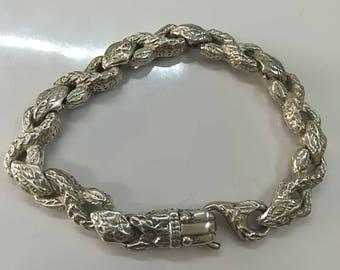 "Feathered Serpent Bracelet ""Quetzalcoatl"" in silver. 925"