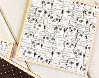 Meerkat Gift, Meerkat Decor, Meerkat Coasters, Monochrome Decor, Monochrome Coasters, Black and White, White Coasters, Black Coasters