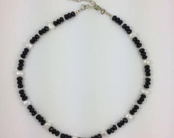 Black Glass & Pearls Bead Necklace by Pottery Lovely