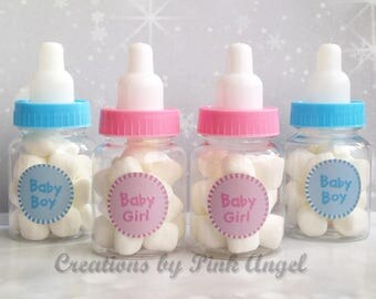 Set of 12 Baby Shower Favors, Baby Shower Baby Bottle Favors, Baby Shower Games, Plastic Bottle Favors