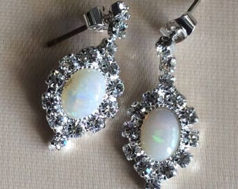 Gorgeous Vintage Natural Australian Solid White Opal Earrings Surrounded By Rhinestones