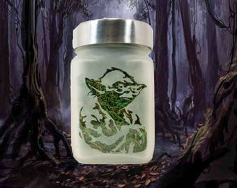 Star Wars Yoda Etched Glass Stash Jar - Weed Accessories, Stoner Gifts - Cool Stash Jars for Weed