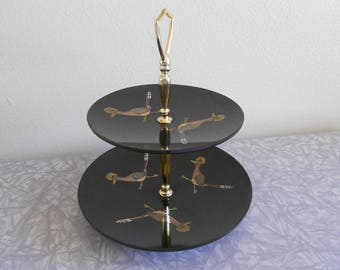 Vintage Mid-Century Couroc Hand Inlaid Black & Gold 2 Tier Serving Tray with Roadrunners SHIPPING INCLUDED