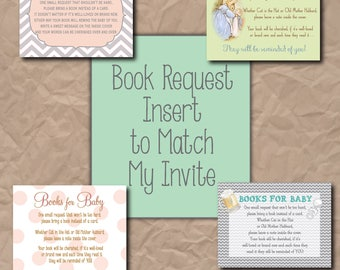 Book Request Insert Card to match my Invite/DIGITAL FILE/printable/4x3 or any size