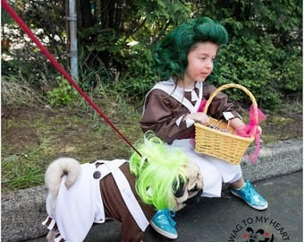 Oompa-Loompa dog costume, Halloween dog costume, Charile & the Chocolate Factory
