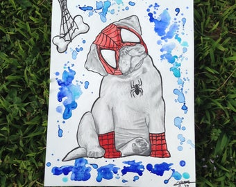 Spiderman Pug Pup Original Watercolor / Ready to Ship