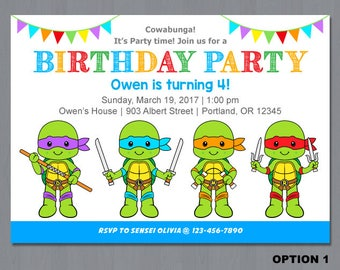 Ninja Turtle Invitation, Ninja Turtles invitation, TMNT Invitation, Ninja turtle birthday invitation, Ninja turtle invitation printable