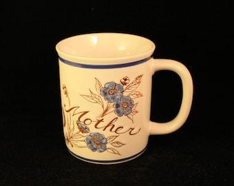 Vintage Mother Mug or Cup Embossed Ceramic  Stoneware Blue Flowers
