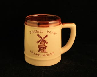Vintage Windmill Island Holland, Michigan Tankard Mug Cup Ceramic Collectible Travel Souvenir
