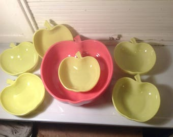 Vintage Hazel Atlas bowls in the shape of Apple