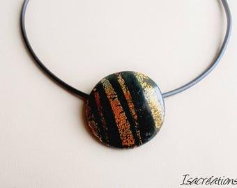 Necklace and metallic orange and red tones handmade