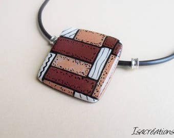 square necklace brown copper and black