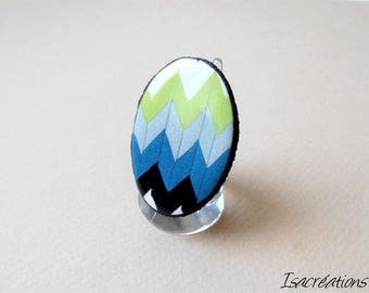 ring oval zigzag black, turquoise, lime, silver and white