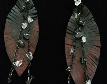 leather feather earrings, black and red