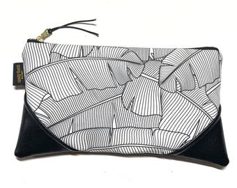 Large Black and White x Black Banana Leaf Zipper Clutch / Zip Pouch with Zipper Pull or Leather Wristlet Strap