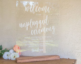 Unplugged Wedding Sign - Sign for Unplugged Wedding - Unplugged Wedding - Unplugged Ceremony Sign - Large Acrylic Wedding Sign -Acrylic Sign