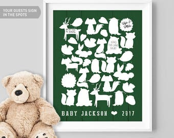 Woodland Baby Shower Guest Book Alternative / Animal Guest Book, Fox Bear Bunny / Forest Green Nursery ▷ Canvas, Board, Paper {or} Printable
