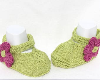 Lime Green Shoes, Baby Girl Booties, Baby Sandals Baby Mary Janes Baby Shoes Baby Sandals Flower Booties Cotton Booties, Hand Knit Booties