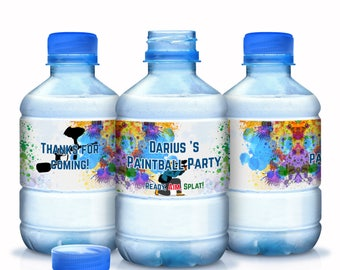 30 Paintball Birthday Water Bottle Labels  - Paintball Bottle Wraps - Paintball Birthday Labels - Paintball Stickers - Paintball Birthday