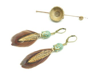 ¤ ~ Buddha & feather • ~ ¤ earrings natural pheasant feathers.