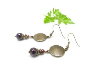 Bohemian earrings ¤ Garnet medal.