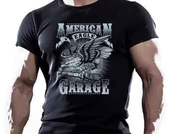 American Eagle  Garage Motorcycle Bike Chopper  rod mens t shirt tees