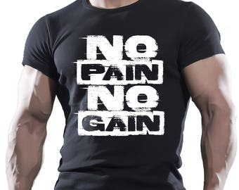 No Pain No Gain. Black Men's Cotton T-shirt