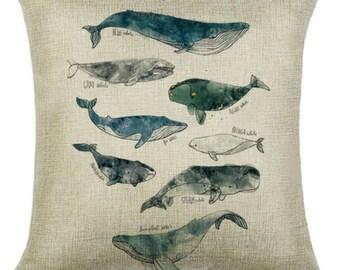 Whales Whale Sea Aquarium Kids Pillow Cushion Cover Linen Cotton