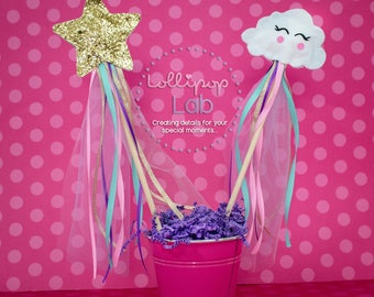 Cloud wand, Star wand, Magic wand, Birthday decoration, centerpiece, Stars, Clouds, Wands, Pkg of 5