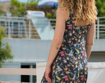 Midi drees with exotic patter