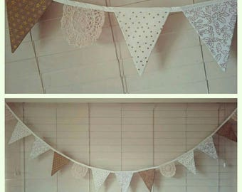 Gold and cream vintage inspired doily bunting