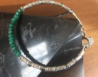 Fortuneyes. Emerald and silver bracelet.