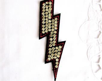 Yellow Lightning Patch, Lightning  Emblem,Yellow Crystal Lightning Patch with Red  Contour,Handmade Embellishment