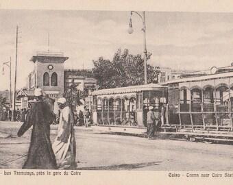 FREE POST - Old Postcard - EGYPT Street Scene Trams near Cairo Station - Vintage Postcard - Unused