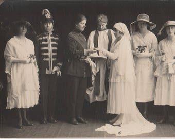 FREE POST - Old Postcard - Edwardian Wedding Photograph - Real Photo Postcard 1910s  - Vintage Postcard - Unused