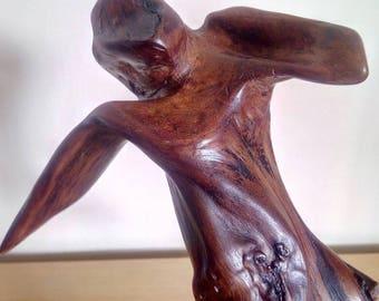 Bog yew dancer wood sculpture