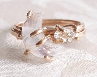 Crescent Moon and Star Stacking Ring Set - Celestial Rings - Moonstone Ring - Herkimer Diamond Ring - Stackable Rings - Raw Crystal Rings