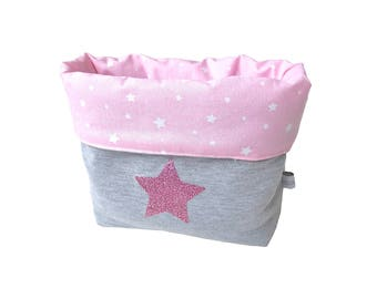 DrawString reversible cotton jersey gray pink white stars