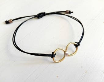 Bracelet with brass and silver central and leather lanyard, bracelet with knot, adjustable cuff bracelet, gift for you